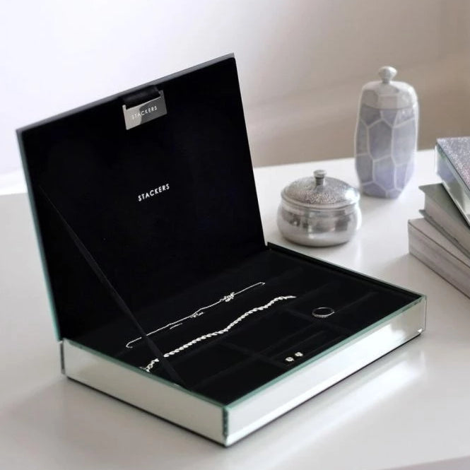 Mirror Glass Classic Jewellery Box Lid 75475 Personalise with laser engraving to the glass top