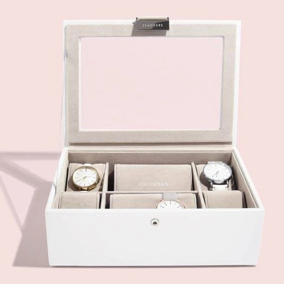 Stackers Classic White Leather 8 piece Watch Box 73593 Personalise the Glass Top with Laser Engraved Message