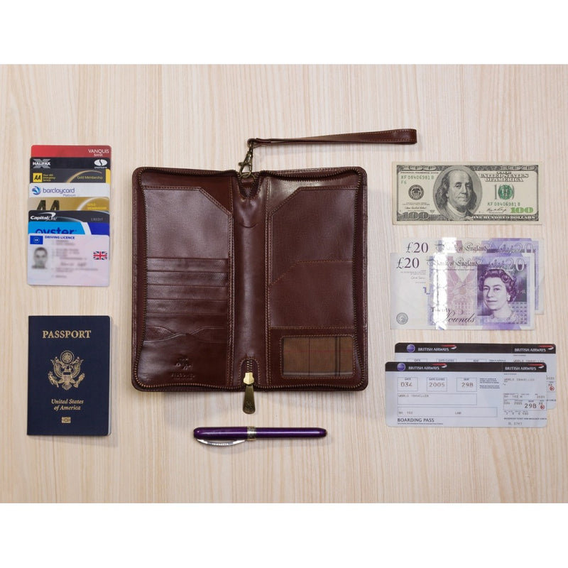 Visconti Monza Italian Brown Leather Travel Wallet MZ101