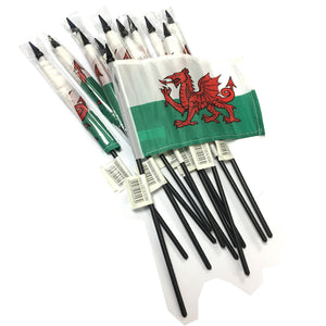 Wales 12x8in Polyester Stick Flag pk12 [wf42]