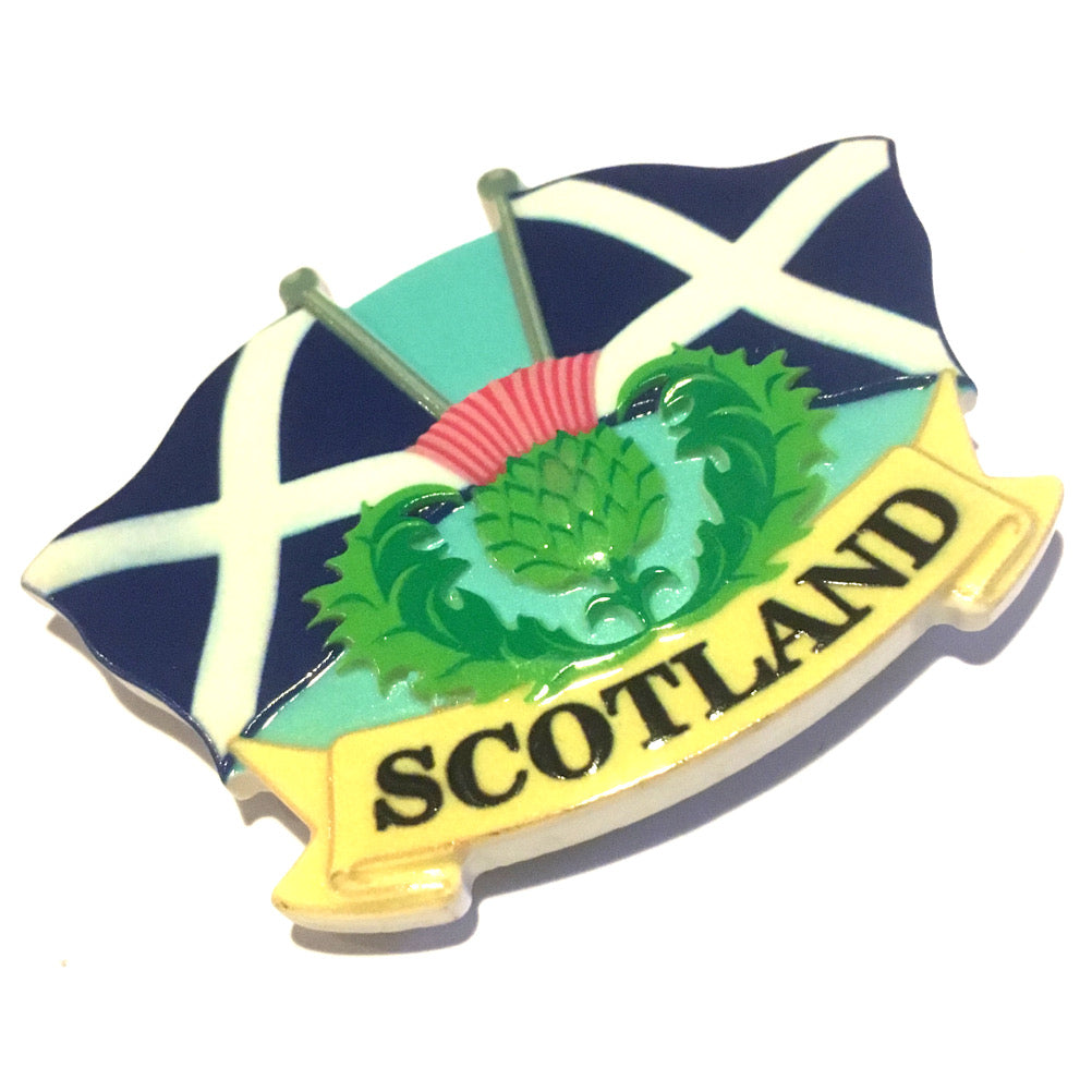 Scotland Thistle & Flags Resin Fridge Magnet [72337]