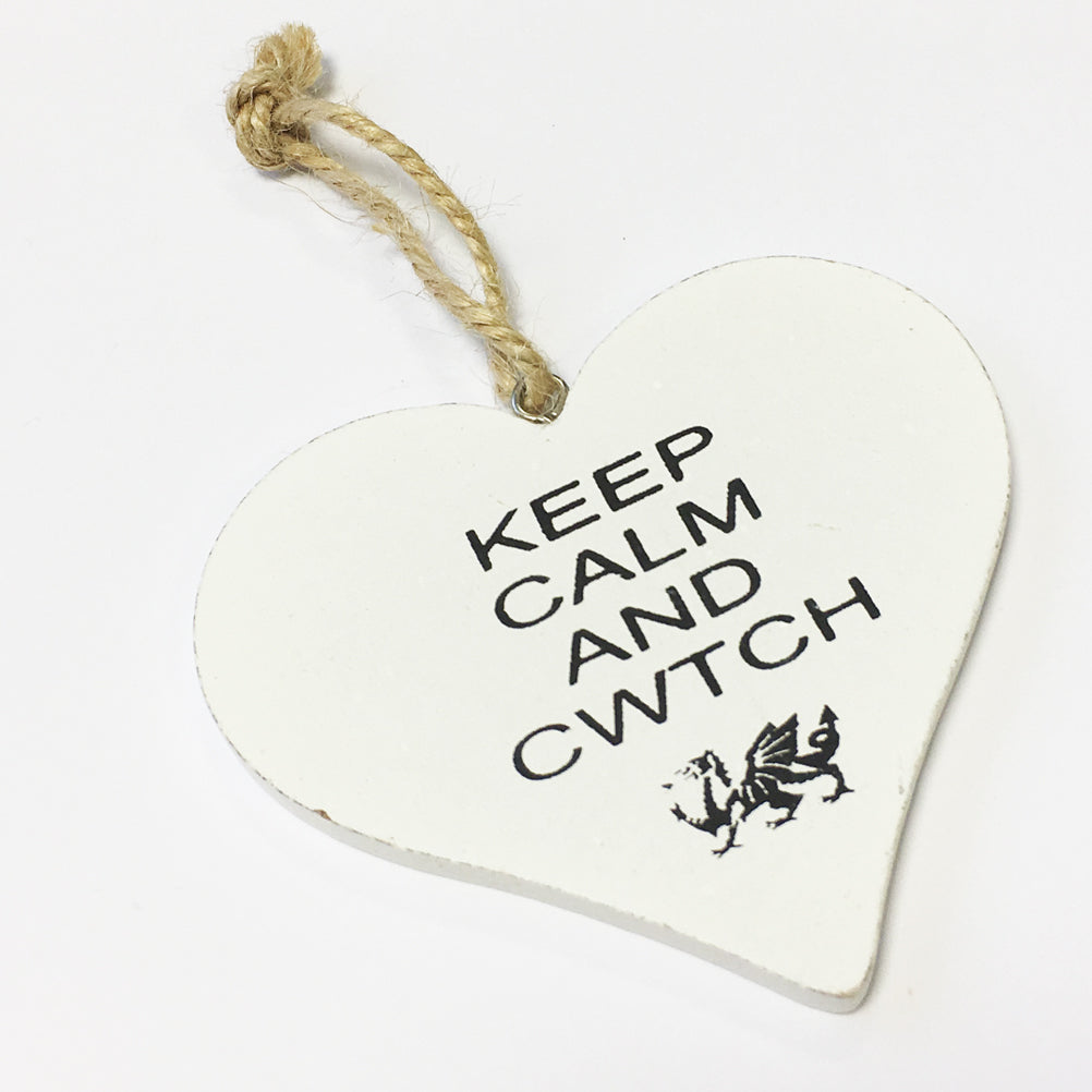 Keep Calm and Cwtch 9cm Heart-Shaped Hanging Plaque