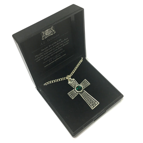 AEW Green Stone Pewter Celtic Cross Pendant & Chain [aew3970]