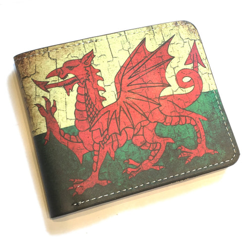 Antique Welsh Flag Vinyl Faux Leather Wallet