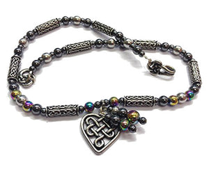 Beady Celtic Cwtch RAINBOW HEMATITE Necklace