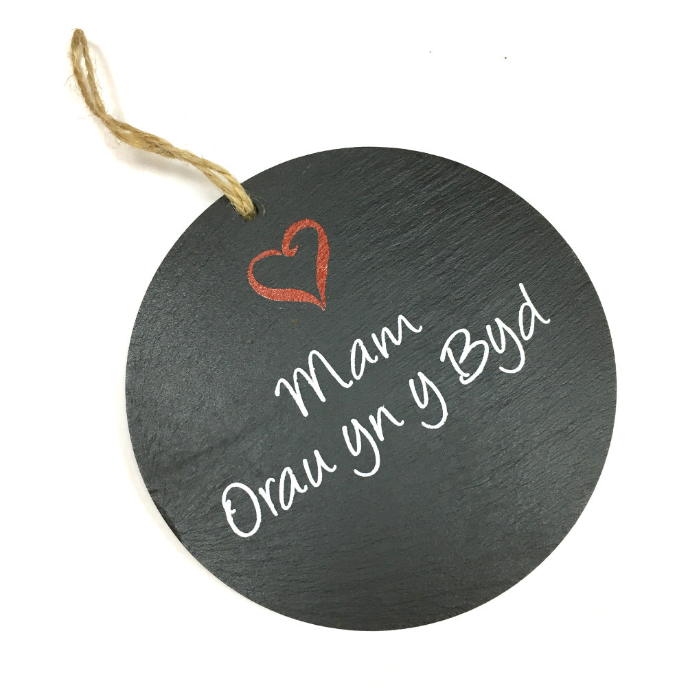 Best Mum Welsh Slate 4in Round Hanging Plaque