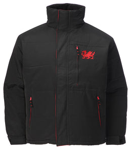 Wales Dragon Embroidered Black 'Puffer' Jacket