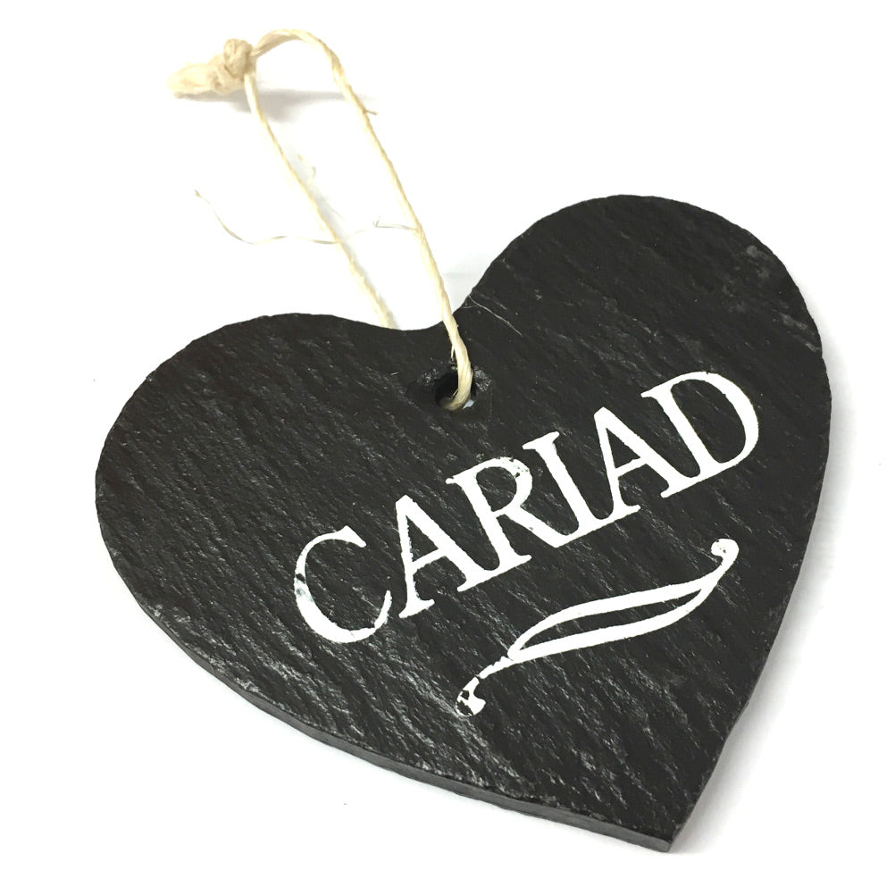 Cariad 9cm Rustic Riven Slate Heart Hanging Plaque