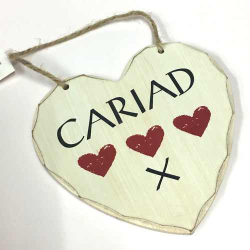 'Cariad' Contemporary Shabby Chic Heart Sign [AG]