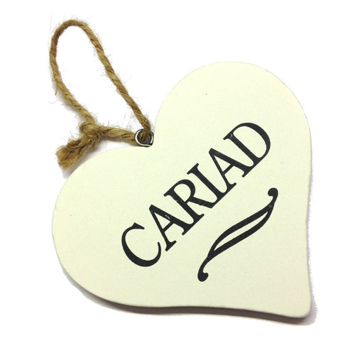 Cariad 9cm Heart-Shaped Hanging Plaque