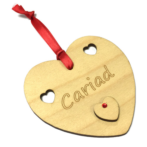 Cariad Laser Etched Heart-Shaped Hanging Plaque