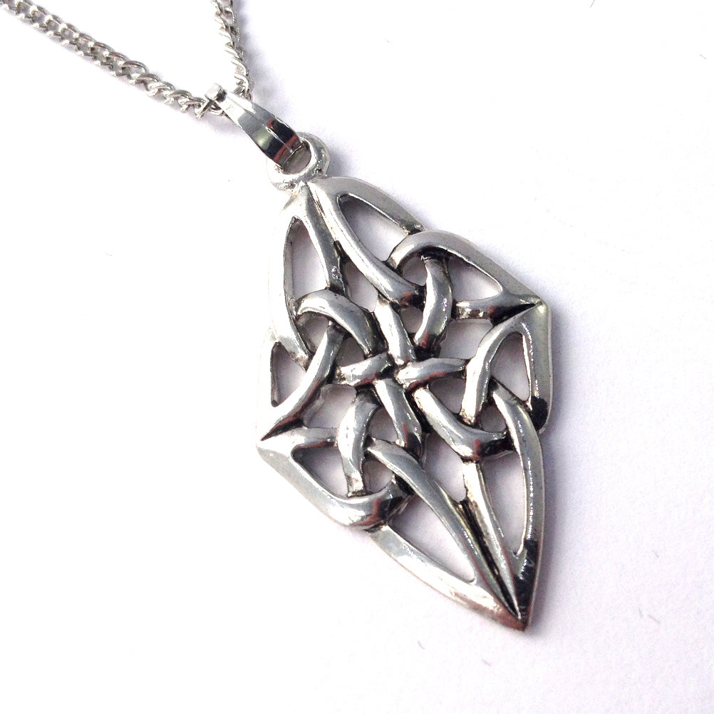 Celtic Weave Long Diamond-shape Rhodium Plated Pendant Necklace [wj80]