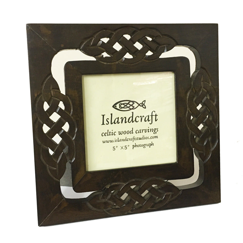 Celtic Weave 5x5in Carved Wood Picture Photo Frame  [019]
