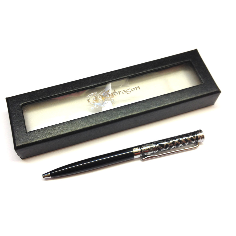 Wales Celtic Weave Coloured Barrel Ballpen [blk wj121]