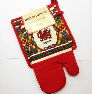 Celtic Weave Welsh Dragon Pot Holder and Oven Mitt Set