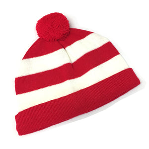 Childrens Wales Red & White Striped Bobble Hat