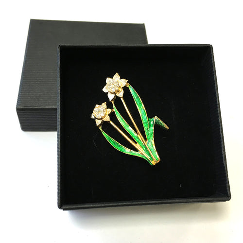 DH Welsh Collection Double Daffodil Brooch [br266e]
