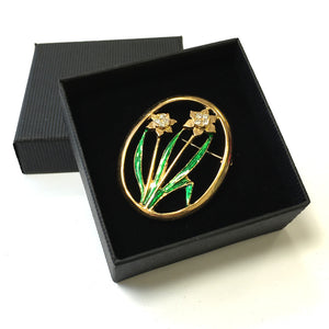 DH Welsh Collection Double Daffodil Oval Brooch [br111e]