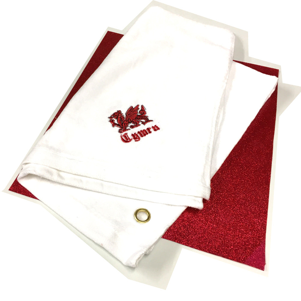 Welsh Dragon Emboidered Golf Towel (white)