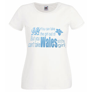 Girl Out Of Wales Ladyfit T-Shirt Wht/Pastel Blue