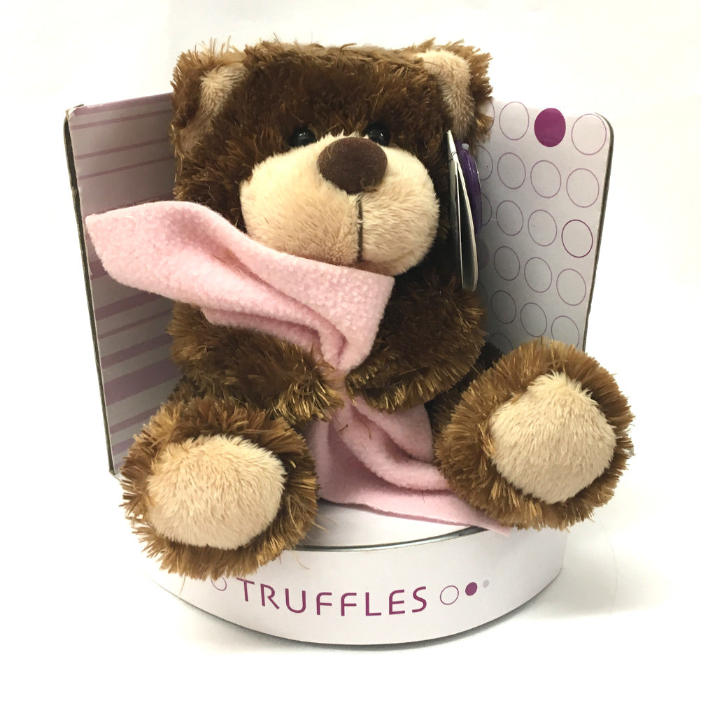 Truffles Bear Soft Toy with Blanket [pink]