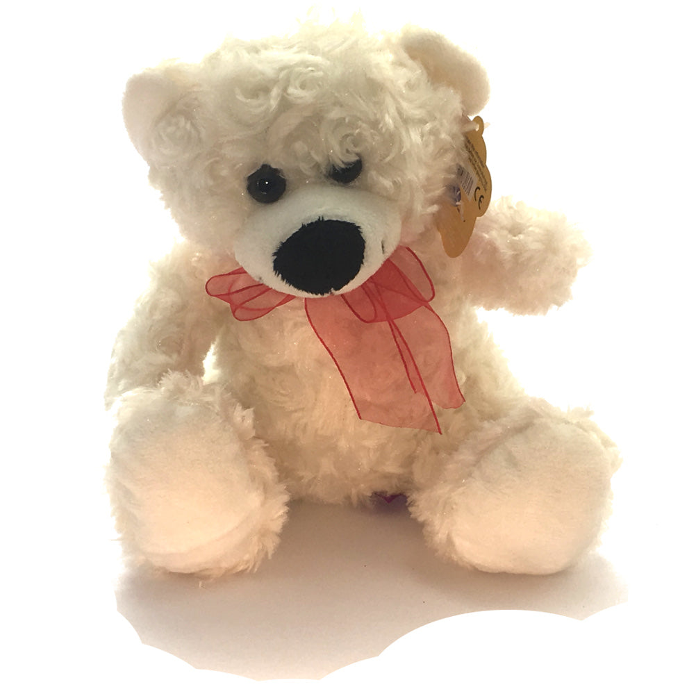 Teddy Bear with Ribbon Soft Toy [23cm/white]