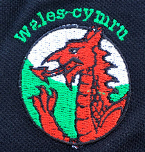 Wales Dragonhead Embroidered Motif Black Polo Shirt [mk] LOGO