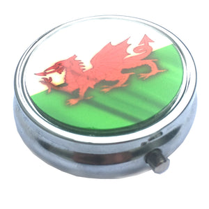 Wales Flag Round Glass Topped Pill Box [wg532]