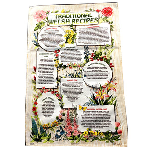 Traditional Welsh Recipes Beige Large Tea Towel [wt27]2