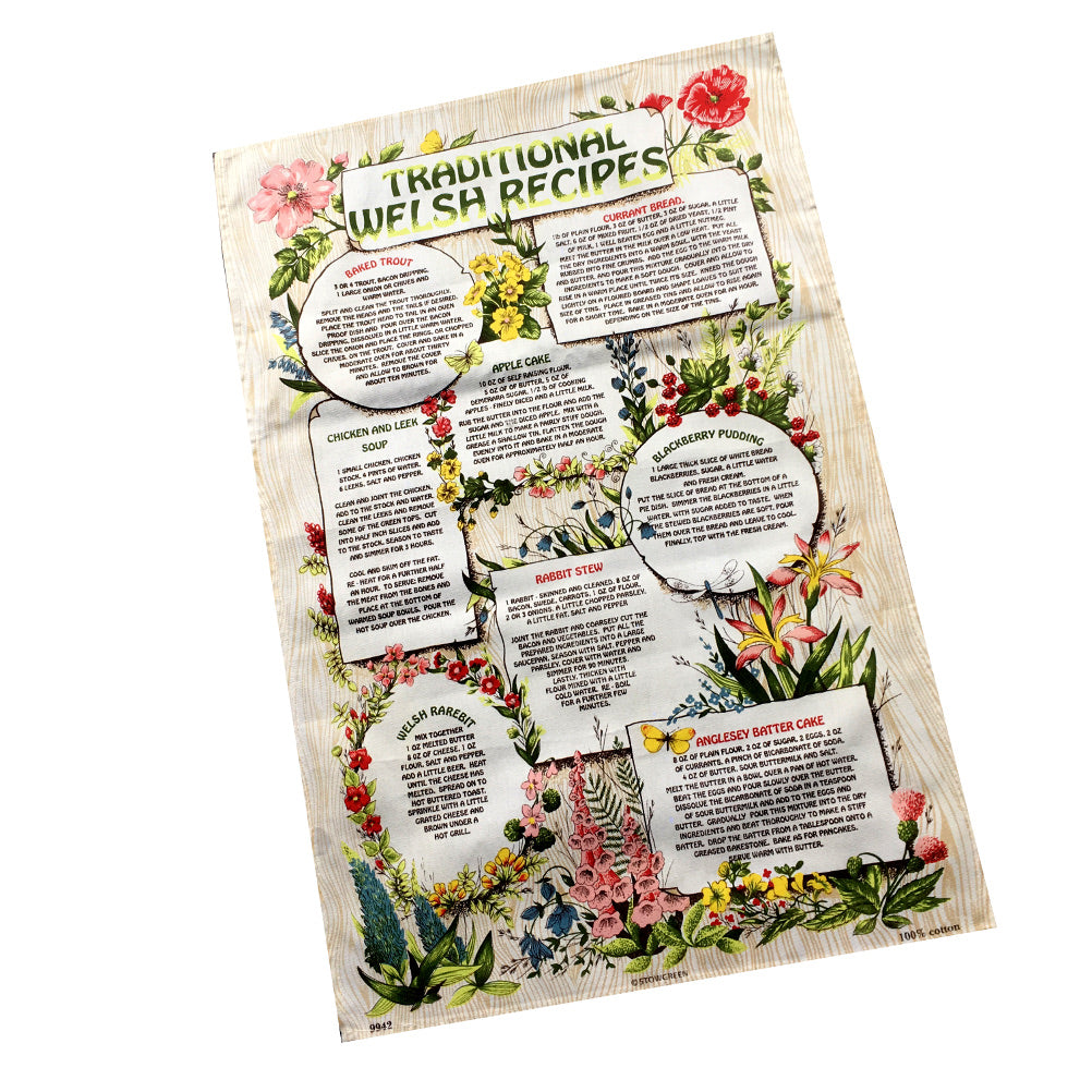 Traditional Welsh Recipes Beige Large Tea Towel [wt27]1