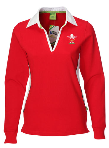 Ladies Official WRU Long Sleeve Rugby Shirt