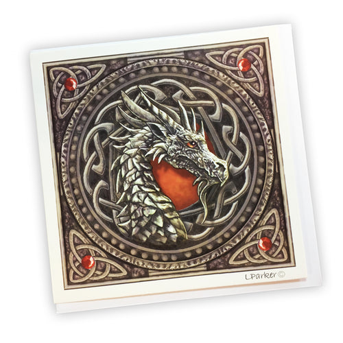 Lisa Parker Design Red Dragon Head Greetings Card