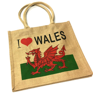 Love Wales Jute Hessian Shopper