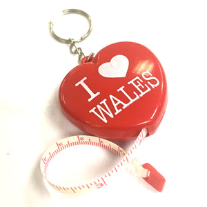 Love Wales Heart Tape Measure Keyring