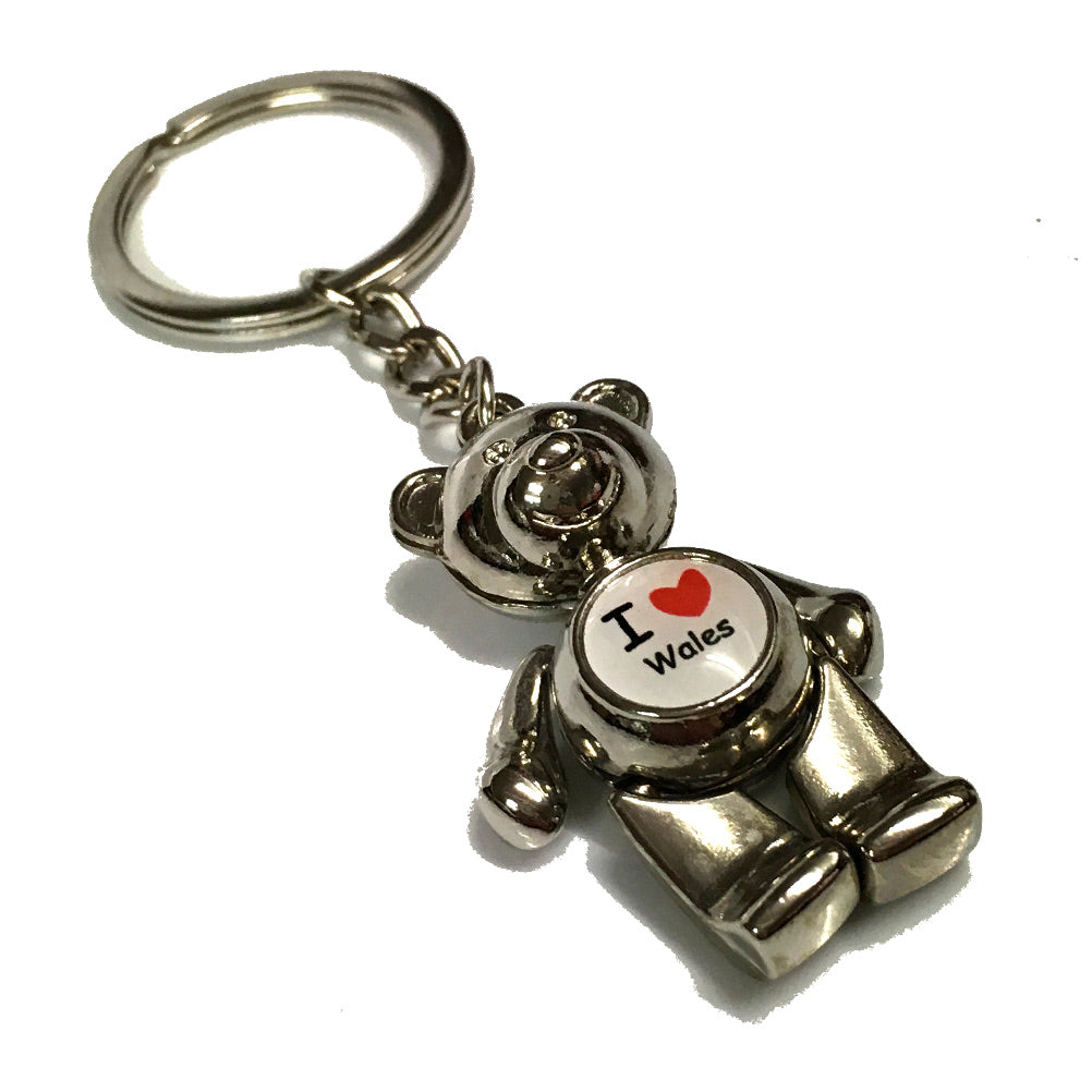 Love Wales Jointed Metal Bear Keyring