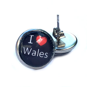 Love Wales Stud Earrings Handmade by JustJoss