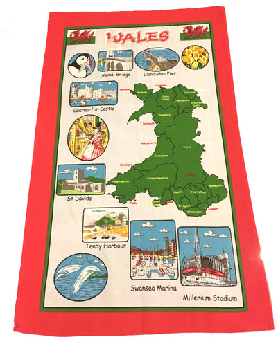 MGR Wales Map Souvenir Tea Towel
