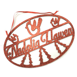 Nadolig Llawen Hanging Cut Out Oval Sign [WX263] silver