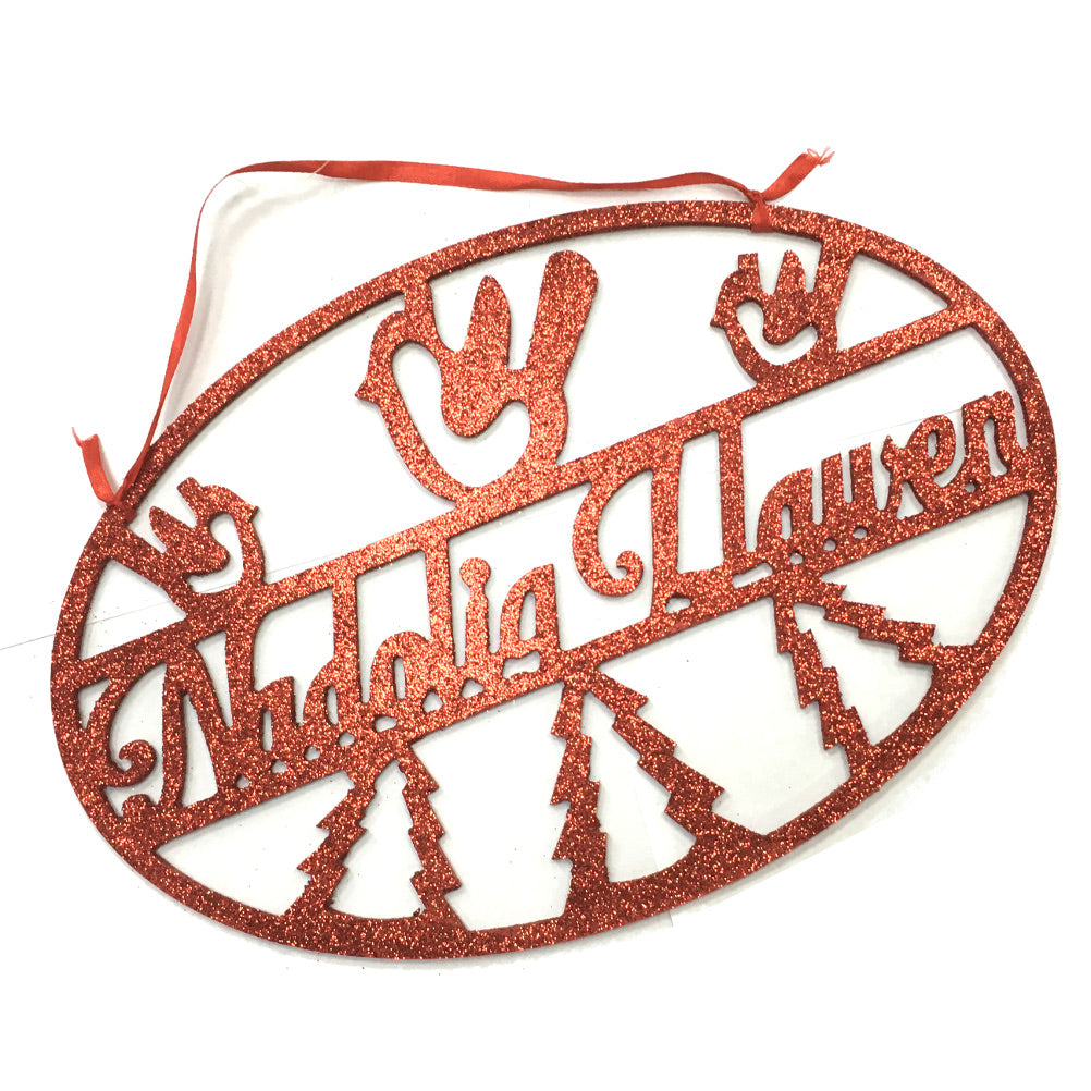 Nadolig Llawen Hanging Cut Out Oval Sign [WX263] red