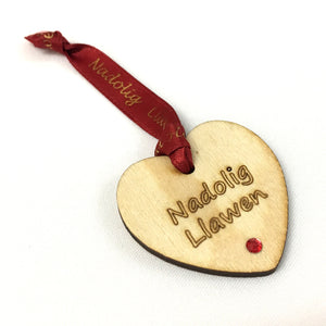 Nadolig Llawen Laser Etched Christmas Bottle Tag [heart]