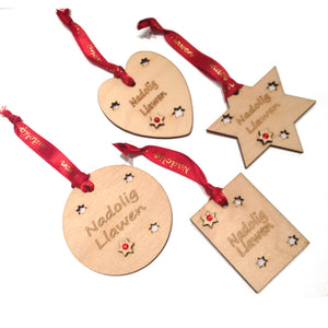 Nadolig Llawen Laser Etched Christmas Hanger 4pc Set