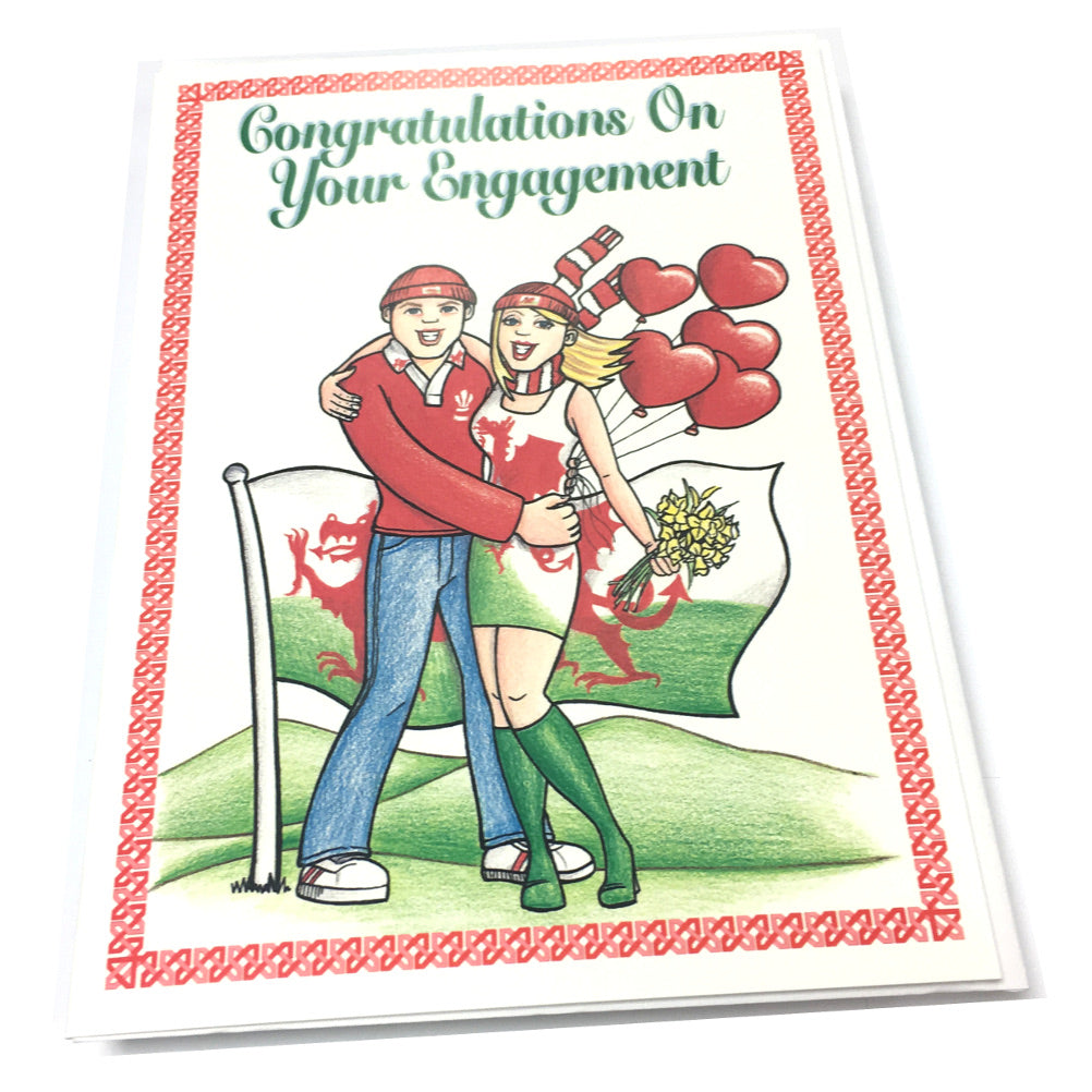 Nix Engagement Welsh Theme Greetings Card [nx21]