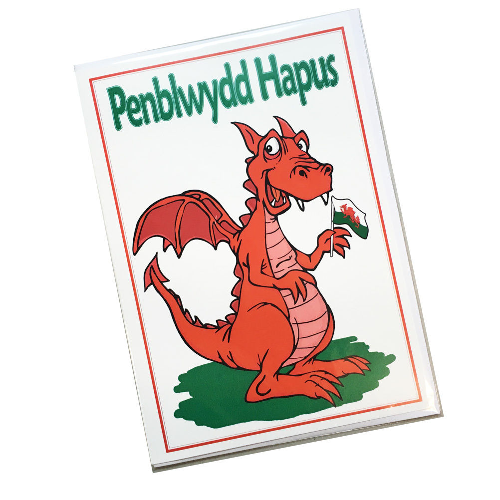 Nix Penblwydd Hapus Cartoon Wales Dragon with Flag Birthday Card [Wnx179]