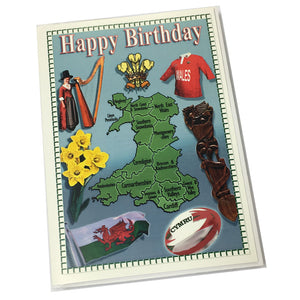 Nix Wales Map & Symbols Birthday Card [Enx41]
