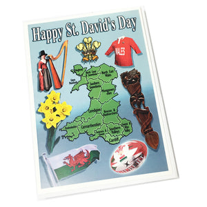 Nix Wales Map & Symbols St David's Day Greetings Card [StDnx41]