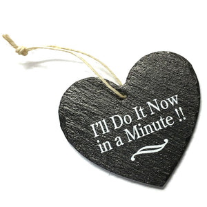 Now in a Minute 9cm Rustic Riven Slate Heart Hanging Plaque