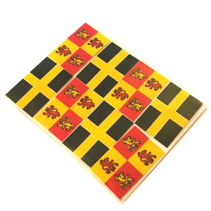 Oblong Owain Glyndwr & Flag of St David 8 Sticker Pack [3x5cm]