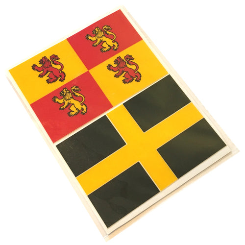 Oblong Owain Glyndwr & Flag of St David Sticker Twinpack [7x10cm]