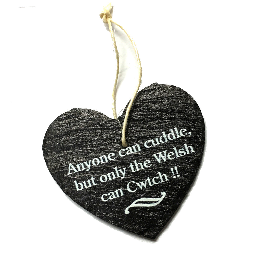 Only The Welsh Cwtch 9cm Rustic Riven Slate Heart Hanging Plaque