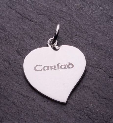 Celtic Collection Sterling Silver Cariad Etched Heart Pendant [po90222]